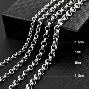 100% 925 Sterling Silver Belcher Chain Necklace 3.5 - 5.5mm Long Fit For Pendant Thai Jewelry Gift Men Women Chains