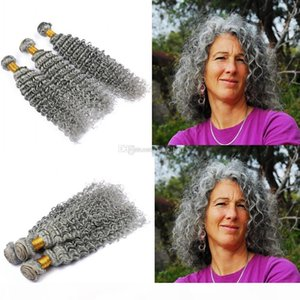 Silver Grey Deep Curly Human Hair Bundles Pure Color Gray Hair Weaves Grey Deep Wave Hair Extensions Double Wefted