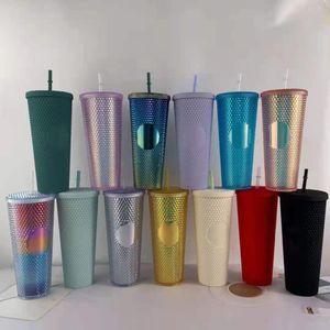 24 oz Studded Cups Iridescent Bling Rainbow Unicorn Double Wall Tumblers Coffee Mug Cold Cup Tumbler YFA3112