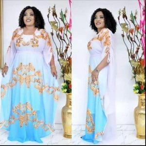 African Womens Dress Dresses For Women Autumn Sky blue Africa Clothing Muslim Long Maxi High Quality Fashion Chiffon Lady