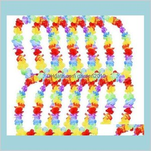 Decorative Flowers & Wreaths Festive Party Supplies Home Garden 500Pcs Hawaiian Leis Garland Necklace Colorful Fancy Dress Hawaii Beac