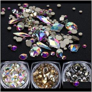 Salon Health Beauty Drop Livraison 2021 1 boîte brillant diamant 3D art rhinstones mélangés ronds rhombus stones plates arrière-nail bijoux de bijoux