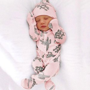 New Cartoon Cactus Print Hooded Foot Coverall Cute Spring Romper Baby Girl Clothes Baby Boy Clothes Babygirl Onesie New Born 201216 89 Z2