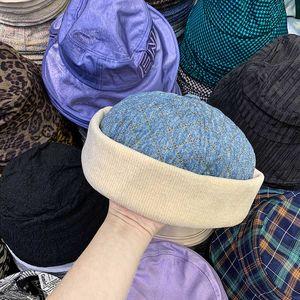 New Designer female cowboy landlord yuppie brimless melon skin solid color men's roll edge street autumn winter hat