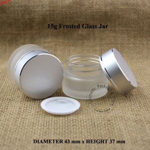 30pcs Lot Promotion15g Frosted Glass Facial Cream Small Jar Eyeshadow Container 15ml Cosmetic Bottles Refillable Packaginggoods