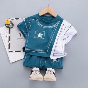 Наборы одежды Мальчики Летние 2021 Детские Повседневная Хлопок Футболки Шорты 2 ШТ. Сцепления для детского малыша 1-5 лет Спортивные костюмы