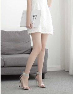 Designer- Eur Fashion Rhinestone Pointed High-heeled Sandals Transparent Horizontal Band Open Toe Back Zipper High-heeled Sandals