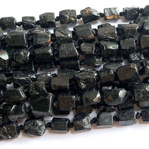Veemake Raw Mineral Black Tourmaline DIY Necklace Bracelets Earrings Natural Crystal Nugget Loose Beads For Jewelry Making 07057