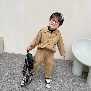 Clothing Sets Casual Boys Suit Kids Child Clothes Spring Autumn Cotton Long Sleeve Shirt Tops Pants Trousers 2Pcs Sets 1-6T B4518
