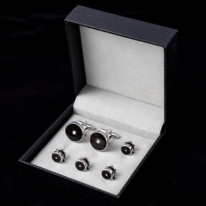 Trendy Black Enamel Studs Set with Box Round Shape Cufflinks Rhinestone Decoration Tuxedo Shirt Men Jewelry Gift