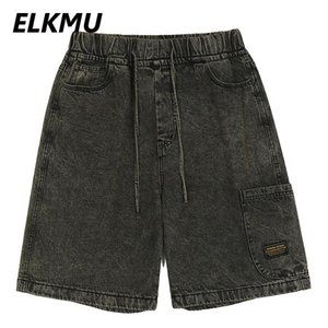 Denim Shorts Men 2021 Spring Summer Jeans Streetwear Casual Short Pants Male Harajuku Elastic Waist Bottoms HE974 Men's