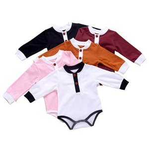 Infant Baby Romper Kids Boys Girls Splice Rompers Long Sleeve Newborn Baby Clothes Toddler Boys Clothes Button Onesies Kids Outfits 061105