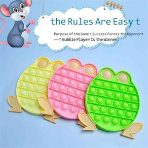 frog shape pop its Fidget Finger puzzle Cartoon bubble poppers board sensory Silicone toys push Poo desktop toy stress relief gobang Pea Popper G4OMGR3