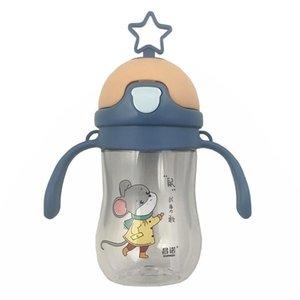 Симпатичные детские спортивные питьевые бутылки с водой соломенный тип 300-400 мл пластиковая бутылка для ребенка с ремешком