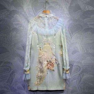 Vestido Seqiny ED en Vintage Azul Jacquard Femenino Femenino Spring Summer Moda Diseño de Moda de Alta Calidad Gránulos de Aves Lechas Plied Malla
