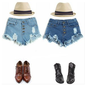 Seven Colors Wind Break Hole Tassel Must Be Ultra Short High Waist Breasted Wear Rough Ee Denim Shorts Hot Pants