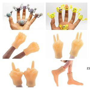 Novelty Items PVC Grey Ghost Head Finger Puppet Storytelling Mini Fingers Set Capsule Toy 6 styles HWF10207