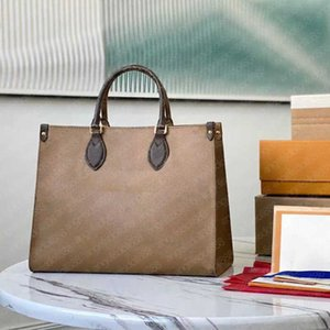 7A+Fashion Handbags women top quality large tote shopping bags classic brown letters print canvas genuine leather fashion beach shoulder bag purses