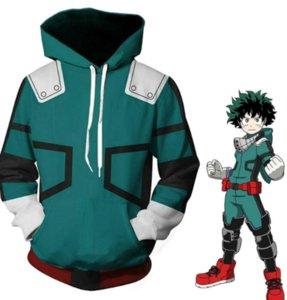 Academia Boku Izuku Midoriya Cosplay Costumes Anime Battle Hooded Jacket Hoodie Unisex DFF2169