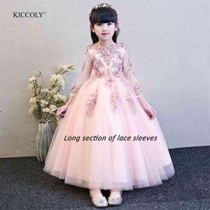 Kiccoly Custom New Elegant девушка розовый кружевной рукавом платье ребенка первое общественное платье девочка формальное свадебное платье для 1-14т 210331