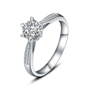 9K,14K,18K White Gold 1Ct Fashion Classic Six-claw Snowflake Ring Engagement&Wedding Moissanite Diamond Women's Ring With Certificate