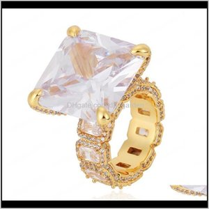 Europe And America Men Women Ring Yellow Gold Plated Bling Ice Out Big Diamond Cz Stone Ring For Men Women Nice Jewelry 0Vs7D Ul9Wl