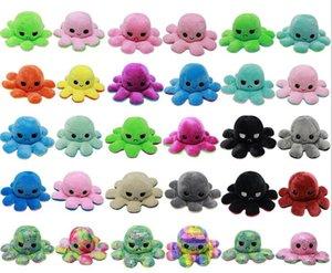 28 Стилей Flip Octopus Фурсил Реверсивный Милый Животный Плюс Смешанная Кукла Мягкая двухсторонняя экспрессия Плюшевые игрушки Детские Детские Подарочные Свадебные Фестиваль Партии