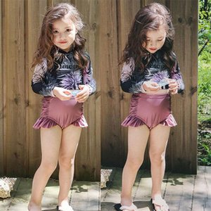 Girls' Swimwear Long Sleeve Ruffle Floral Print Two-Piece Swimsuit With Swimming Cap Summer One-Pieces