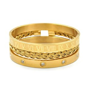 Cubic Zirconia Love Bangles For Man Roman Numbers Bracelets Couple Jewelry Set Stainless Steel Fashion Charm Gold Bangle