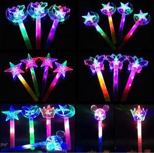 LED Magic Wand Children Luminous Toy Colorful Star Moon Butterfly Glowing Magic Wand Wholesale Snow Princess Romance Crown Flash Stick