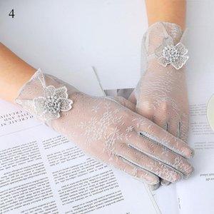 Five Fingers Gloves Uv Sunscreen Short Women Girls Full Finger Fashion Silk Lace Mittens Driving Thin Lady