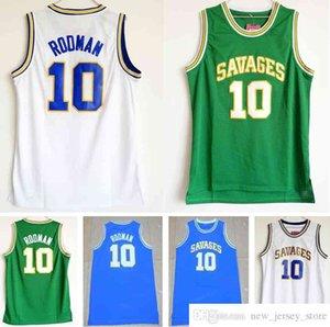 NCAA Mens Savages 10 Деннис Родман Джереси Белый Зеленый Синий Университет Университета Колледжа Сшитые «Червя» Деннис Родман Джерси