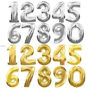 32-дюймовый серебряный золотой фольга Номер воздушных шаров Цифровые Глобос День рождения Свадьба Украшения Баллоны Детские Душевые принадлежности NHD6436