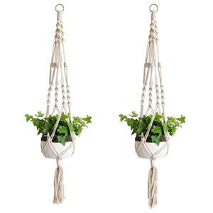 Plant Hangers Macrame Rope Pots Holder Ropes Wall Hanging Planter Hanger Basket Plants Holders Indoor Flowerpot Baskets Lifting