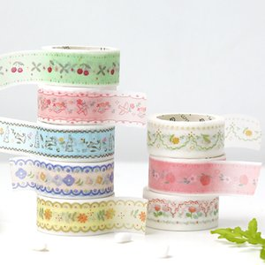 6pcs Embroidered Forest Washi Tape Set 15mm Daisy Flower Peach Fruit Adhesive Masking Tapes Decoration for Diary Stickers A6018 2016
