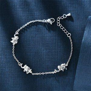 Koreanische Mode Einfache Tier Elefant Kleine frische Kristall Armband Frauen Trendy Freund Schmuck