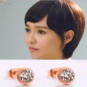 E5-208 Jewelry the Same Star Exquisite Super Flash Single Drill Titanium Steel Rose Gold Non Allergic Earrings