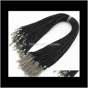 Wire Drop Delivery 2021 100 Pieces Lot Wholesale 2Mm Black Wax Leather Cord Necklace Rope 45Cm Long Chain Lobster Clasp Diy Jewelry Findings