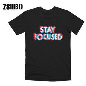 Été T-shirt T-shirt Pychédélique Police Merveilleusement Imprimer Restez sur T-shirt femme Focus Streetwear Hip Hip Sleeve Sleeve Tshirt Unisexe