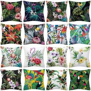 Tropical Nordic Plant Flamingo Polyter Pillow Cover Home Decoration Sofa Cushion