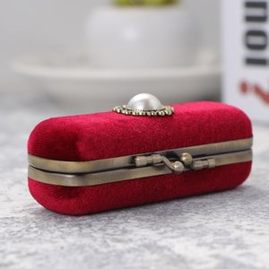 Retro Velvet Lipstick Box Lip Organizer Bag Durable Soft Cosmetic Storage Case With Mirror (Red, Random Inner Color) Boxes & Bins