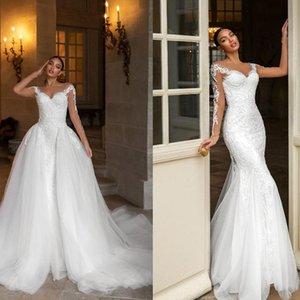 Designer 2021 Sereia Vestido de Noiva Branco Renda Overskirt Treine Destacável Vesticantes Nupcial Pescoço Pescoço Beading Longos Mangas Lindo Casamento Vestidos Ksy297