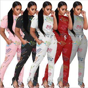 T-shirt Split Zip Pants Women Outfits Plus size 2XL tracksuits two pieces setsShort Sleeve jogging set Letter Printed sweatsuits summer Autumn date Clothing 115