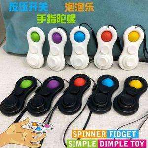 Mini commutateur Push Switch Bague magique Fidget Spinner Jouets Poussez POP Bubble Popper Popper Spinners Bulle à doigts avec lanière doigt sur la queue de pointeau Tik Tok Tok Fidget Pochette pour enfant H518IW8