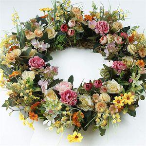 Искусственный цветок венок весенний лето венок для входной двери стены окна свадьба партия садовый дом дом декор дома 1261 v2