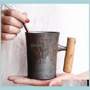 Coffeware Sets Coffeeware Kitchen, Dining & Bar Home Garden 300Ml Vintage Ceramic Coffee Mug Tumbler Rust Glaze Tea Milk Beer Water Cu