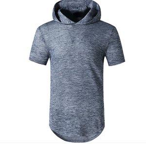Erkek T Gömlek Yaz Kapüşonlu Tees Katı Renk Basit Stil Erkek Giyim Boyu 90s Üst