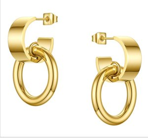 18K gold-plated titanium steel earrings E smooth C-shaped hanging small European and American fashion INS