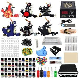 Complete Tattoo Set Coil Machine Kit Shading Liner Power Supply Needles Professional Beginner Guns Kits