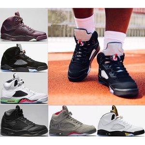 Homme Basketball 5 5s Bon marché Top Qualité Sneaker Sneaker Athletic Fire Rouge Blue Sude og noir métallisé occasionnel sport chaussures entraîneur